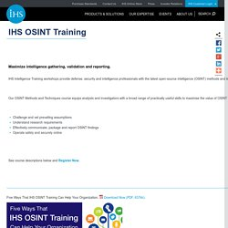Open Source Intelligence (OSINT) Training