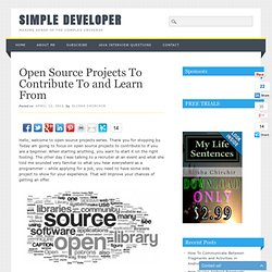 Open Source Projects To Contribute To and Learn From