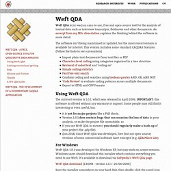 Weft QDA - a free, open-source tool for qualitative data analysis