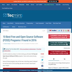 10 Best Free and Open Source Software (FOSS) Programs I Found in 2016
