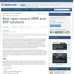 Best open source HRM and ERP solutions