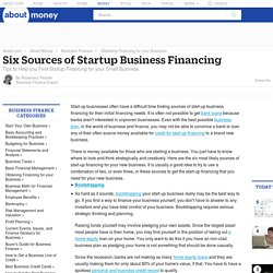 Six Sources of Startup Business Financing