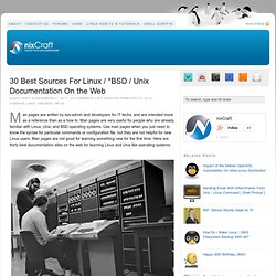 30 Best Sources For Linux / *BSD / Unix Documentation On the Web