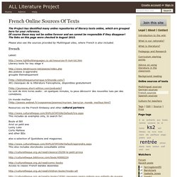 French Online Sources Of Texts - ALL Literature Project
