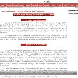 Les sources nationales du droit du travail : sources étatiques - Cours de droit