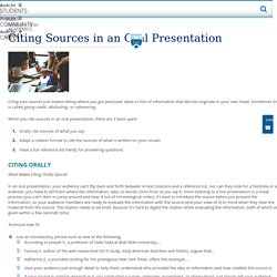 Citing Sources in an Oral Presentation
