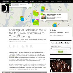 Looking for Bold Ideas to Fix the City, New York Turns to Crowd Sourcing
