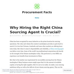 Choosing the right China sourcing agent