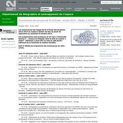 Soutenances des projets de fin d'étude - année 2014 - Master 2 SIGAT