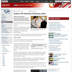 Indian PM defends Pakistan talks