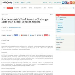 Southeast Asia's Food Security Challenge: More than 'Stock' Solution Needed