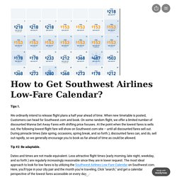 Southwest Airlines Low-Fare Calendar