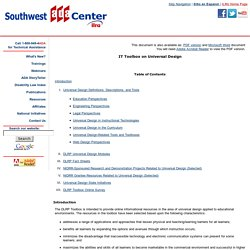 Southwest ADA Center - IT Toolbox on Universal Design