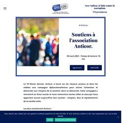 30 mars 2021 Soutiens à l'association Anticor.