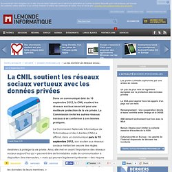 La CNIL soutient les réseaux sociaux vertueux avec les données privées