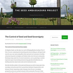 The Control of Seed and Seed Sovereignty