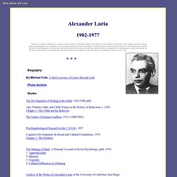 Soviet Psychology: Alexander Luria