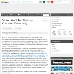 how to develop a character personality