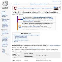 Türkçedeki yabancı kökenli sözcüklerin Türkçe karşılıkları