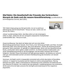 Olaf B. - Die Gesellschaft der Freunde des Verbrechens: Marquis de Sade und die neuere Gewaltforschung (Kriminologie, Sozialphilosophie, Soziologie)