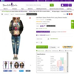 Laid Back Space Panda Print Long Sleeve Hoodie