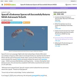 SpaceX's Endeavour Spacecraft Successfully Returns NASA Astronauts To Earth Kids News Article
