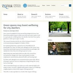 Green spaces may boost wellbeing for city dwellers