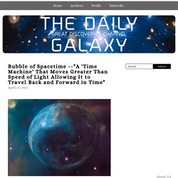 """A 'Time Machine' That Moves Greater Than Speed of Light Allowing It to Travel Back and Forward in Time"" - The Daily Galaxy"