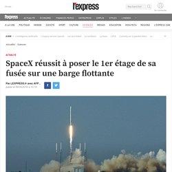 SpaceX réussit à poser le 1er étage de sa fusée sur une barge flottante