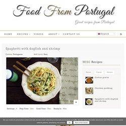 Esparguete com cação e camarão