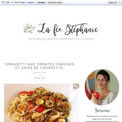 Spaghetti aux tomates fraîches et chips de courgette,