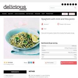 Spaghetti with mint and feta pesto