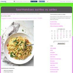 Spaghettis sauce crémeuse au houmous,épinards et citron