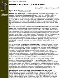 SPAIN : WOMEN AND POLITICS in Spain