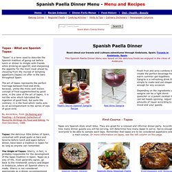 Spanish Paella Dinner Menu and Recipes, Dinner Party Menus and Recipes, Whats Cooking America