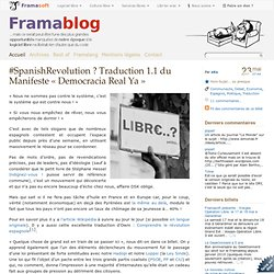 #SpanishRevolution ? Traduction 1.1 du Manifeste « Democracia Real Ya »