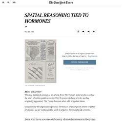 SPATIAL REASONING TIED TO HORMONES