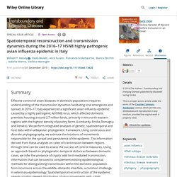 TRANSBOUNDARY AND EMERGING DISEASES 01/12/19 Spatiotemporal reconstruction and transmission dynamics during the 2016–17 H5N8 highly pathogenic avian influenza epidemic in Italy