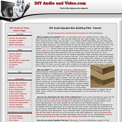 DIY Audio Speaker Box Building FAQ - Tutorial