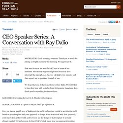 CEO Speaker Series: A Conversation with Ray Dalio