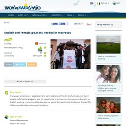 English and French speakers needed in Morrocco