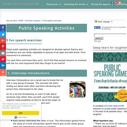 Public Speaking Activities -5 fun speech exercises