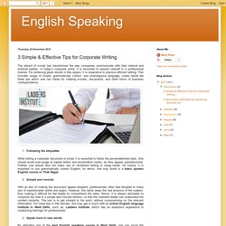 English Speaking: 3 Simple & Effective Tips for Corporate Writing