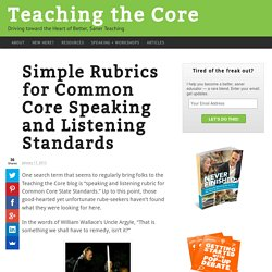Simple Rubrics for Common Core Speaking and Listening Standards - Teaching the Core