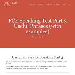 FCE Speaking Test Part 3 Useful Phrases (with examples) — FCE Exam Tips