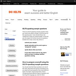 IELTS speaking sample questions