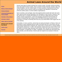 Speaking For Those Who Can't: Animal Laws Around the World