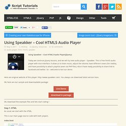 Using Speakker – Cool HTML5 Audio Player