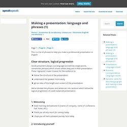 Making a presentation: language and phrases - Speakspeak