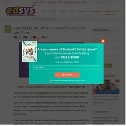 Special Education Web Sites for Teachers and Parent